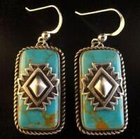 Vintage Turquoise 925 Sterling Silver Earrings Dangle Hoop Infinity Engagement