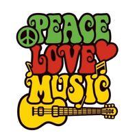 2x Peace Love Music Aufkleber Sticker Liebe Frieden Musik Gitarre Hippie Rock