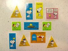 Vintage Peanuts Snoopy & Woodstock stickers 1965 US mail support postage like