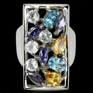 Oval Swiss Blue Topaz Aquamarine Citrine Iolite 925 Sterling Silver Ring Size 7
