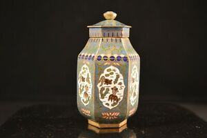 Antique Chinese Fine Hexagonal Small Cloisonné Lid Jar