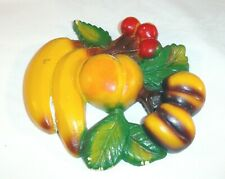 Vtg Chalkware Fruit Plaque Multi Color