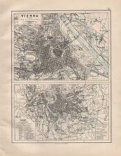 1914 MAP ~ VIENNA WIEN dintorni ~ ROMA ~ edifici pubblici & ANTICHI