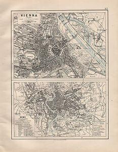 1914 MAP ~ VIENNA WIEN ENVIRONS ~ ROME ~ PUBLIC BUILDINGS & ANCIENT
