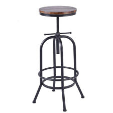 Industrial Swivel Pub Height Bar Stool Kitchen Dining Chairs Height Adjustable