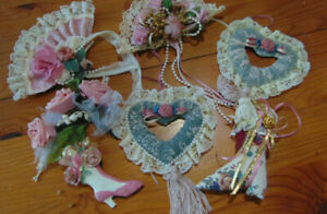 7 Christmas Ornaments Victorian Style Fans Shoes Hearts Pink Roses