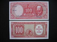 Chile 10 centesimos on 100 pesos 1960-61 (p127a) UNC
