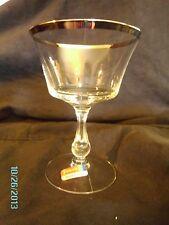 Fostoria SHEFFIELD Champagne Tall Sherbet Glass Platinum Trim 5 1/4 inches