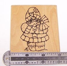 """Used Jrl Country Style Winter/Xmas Girl Holding Bird Rubber Stamp 2""""x3.3"""" Image"""
