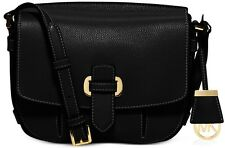 NWT Michael Kors Romy Medium Leather Messenger Bag ~ Acorn~Black Retail $298+tax