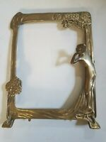 Vintage Brass art nouveau styled mirror picture frame fits 7 3/4 x 10 1/4 in