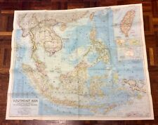 Large Vintage Map Of South East Asia - National Geographic 1955