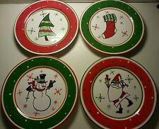 Christmas Dinner Plate (4) Bella Casa Ganz Tree Stocking Snowman Santa