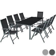 Alluminio set mobili da giardino 8+1 tavolo sedie pieghevole arredo esterno