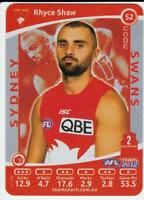 2012 AFL Teamcoach SILVER Card - Rhyce Shaw