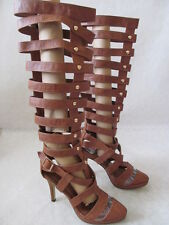 MACHI BROWN GLADIATOR STYLE FASHION-MID CALF BOOTS SIZE 8 - NEW