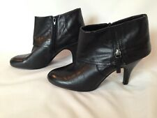 NICE NINE WEST BLACK LEATHER ANKLE BOOTS BOOTIES SIZE 10M!