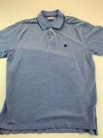 Brooks Brothers Mens Performance Polo Shirt Blue Heathered Original Fit Cotton L