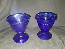 "Anchor Pair Cobalt Blue Glass Dessert Ice Cream Cups Short 4"" Tall USED"