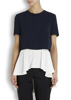 Alexander McQueen Navy Blue Slit-Back Crepe Peplum Top 40 uk 8