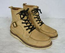 Hunter Alister Mens Camel Leather Moc Toe Buckle Lace Up Boots Size 9