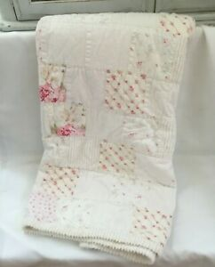 RACHEL ASHWELL SIMPLY SHABBY CHIC PINK HYDRANGEAS CHENILLE PATCHWORK QUEEN QUILT