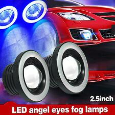 "2x 2.5"" Car COB LED Fog Lights Projector Lamp Blue Angel Eyes Halo Ring DRL Bulb"