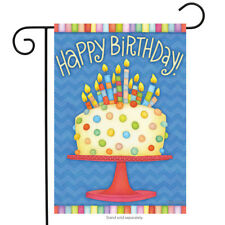 "Happy Birthday Garden Flag Cake Candles 12.5"" x 18"" Briarwood Lane"
