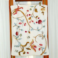 Linens Pillowcase SHAM POTTERY BARN STANDARD Floral Embroidered 19.5x26 Lot of 2