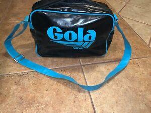 Gola Messenger book Bag Retro Black & Teal blue Shoulder Strap or Cross Body
