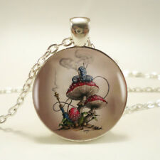 UK SMOKING CATERPILLAR PENDANT NECKLACE Alice in Wonderland Jewellery Gift Idea