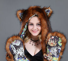 Faux Fur Animal Ears Hat Gloves Mittens Long Scarf Snood Hood Paws
