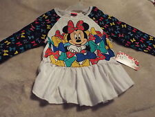 Minnie Mouse Girl's L (10/12) Peplum Top Minnie Graphics & Has Ruffles At Bottom