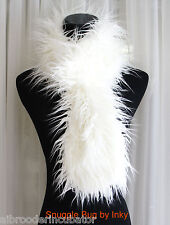 Ivory Winter-White Super Fun Mongolian Faux Fur PULL-THRU Scarf Wrap Brand New !