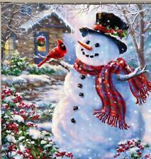 Natale PUPAZZO DI NEVE al di fuori di neve Sciarpa e cappello di natale tenda da doccia bagno