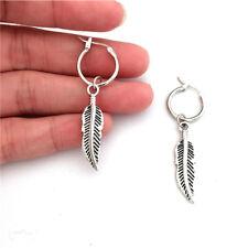 Silver Tone Feather Hoop Drop Dangle Earring Jewelry For Men Women Unisex CS