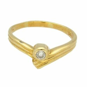 18Ct Yellow Gold 0.10ct Diamond Wishbone Solitaire Ring (Size L 1/2) 2mm Head