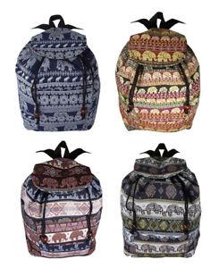 Elephant Backpack Rucksack Bag Hippie Hippy Boho School Festival Patterned