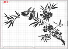 Two Cute Birds on Branch Stencil MYLAR A4 sheet strong reusable ART CRAFT DECO