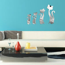 Wall Art Silver Mirror Sticker Cats Design Decal Reflection Decoration