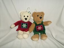 "Hallmark Kiss Kiss Mistletoe Bear Couple Kissing Bears 10"" Set of 2"
