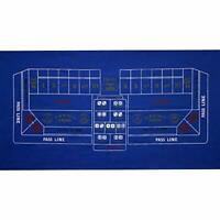 "36"" x 72"" Blue Craps Casino Gaming Table Felt Layout Mat"