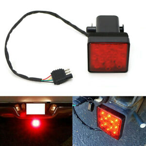 2x 2'' Trailer Truck Hitch Towing Receiver Cover Red Lens 15 LED Brake Light New