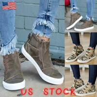 Womens High Top Shoes Ladies Casual Canvas Zipper Flat Trainers Pumps Size 6-9