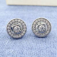 Authentic 100% 925 Sterling Silver Vintage Allure Clear CZ Stud Earrings