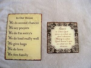 "Pair of metal rustic signs ""In Our House..."" & ""Grace Is When God gives us..."""