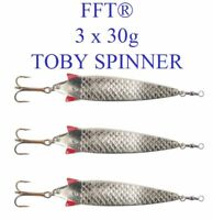 3 x FFT Toby 30g Spinner Lure Mackerel Bass Cod Pike Sea Fishing Treble Hooks