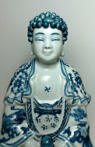 ED061 - A blue and white Buddha statue Republic period or early 20th century