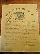 Original Civil War Union Soldier Levi McAllister MAINE Discharge Paper Document