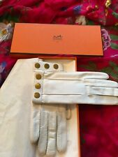 Hermès Ladies White Calfskin Gloves Nib